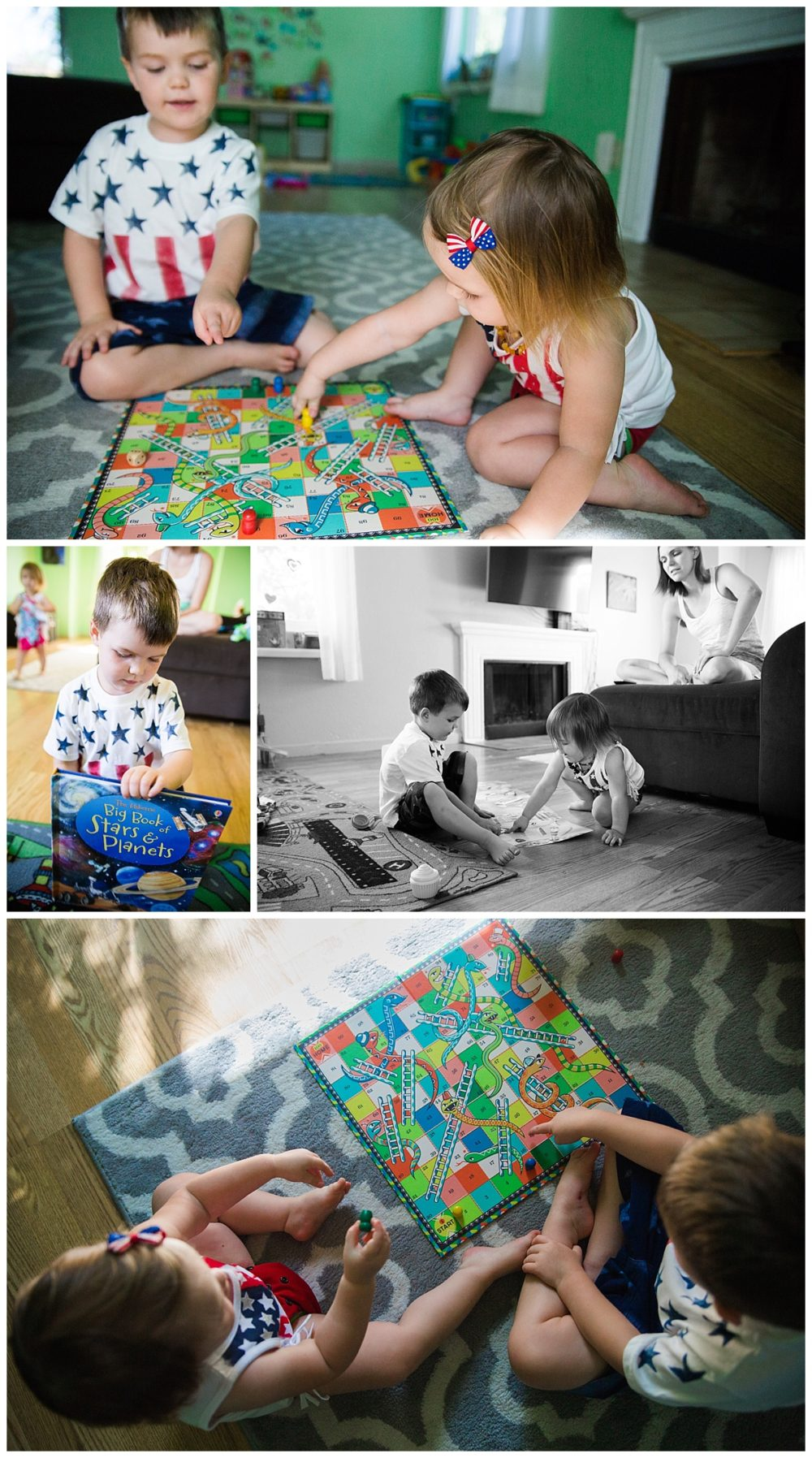 board games, chutes and ladders, living room floor, stars and stripes