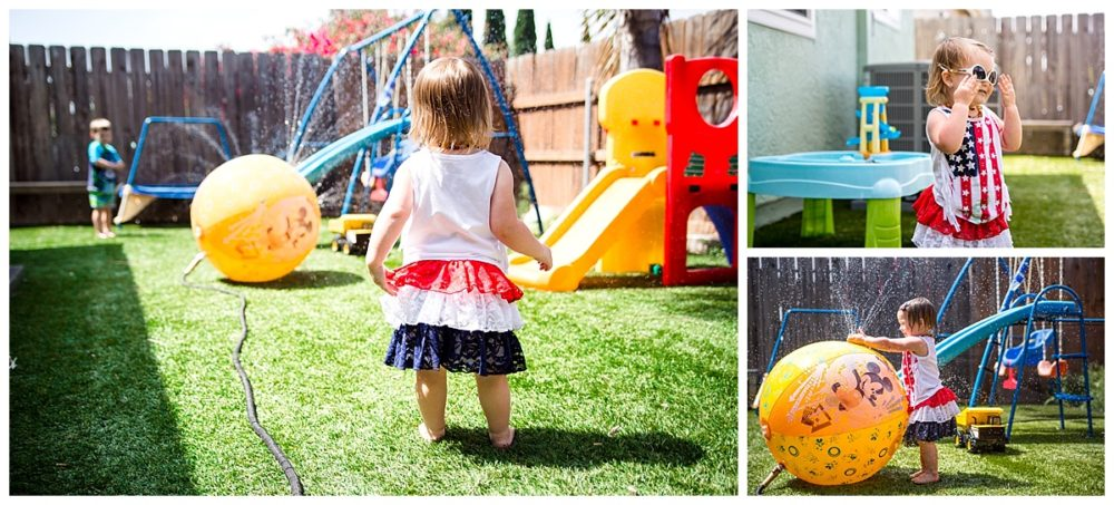 Disney sprinkler, sunglasses, backyard play, summer