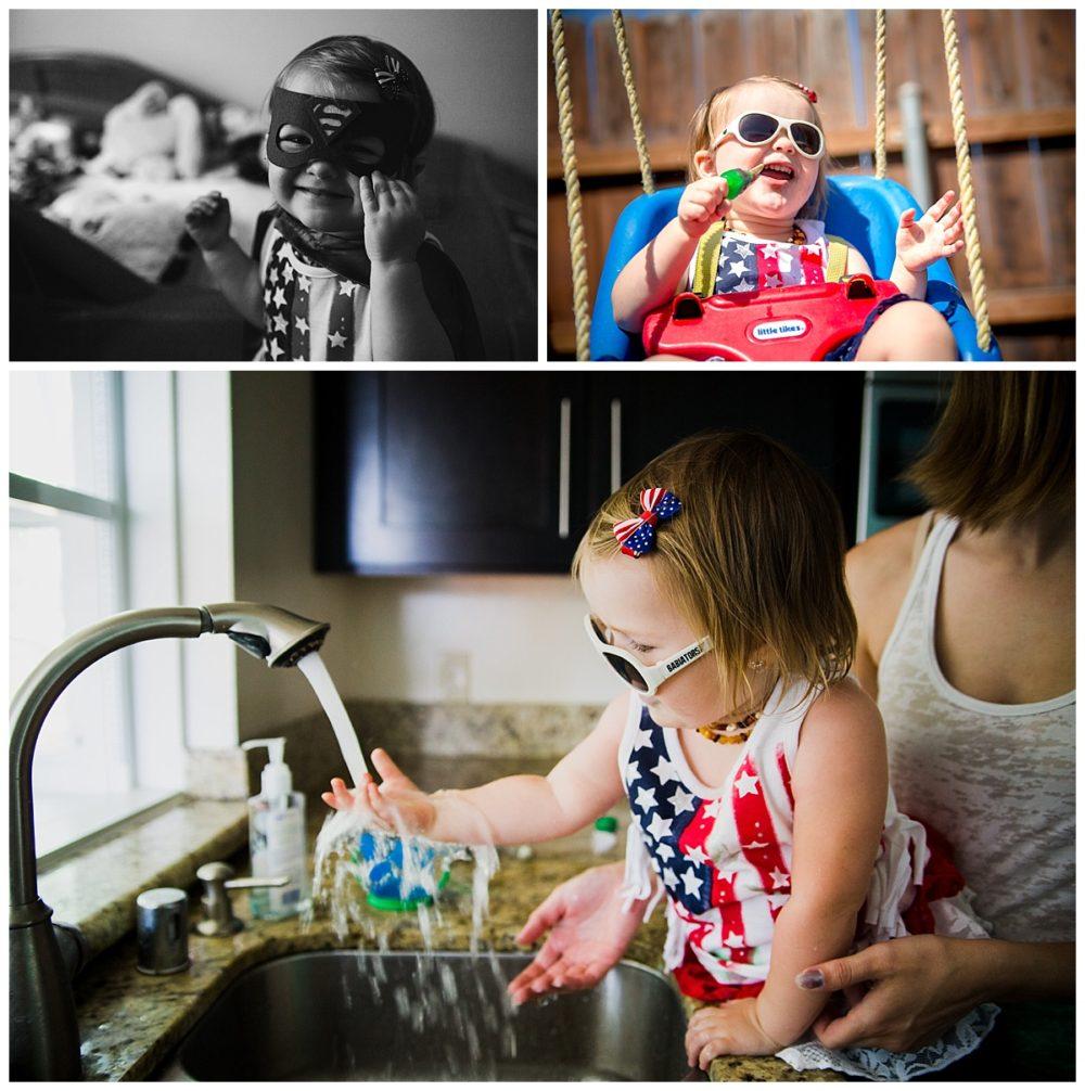 kitchen sink, superman mask, popsicle, swing, sunglasses