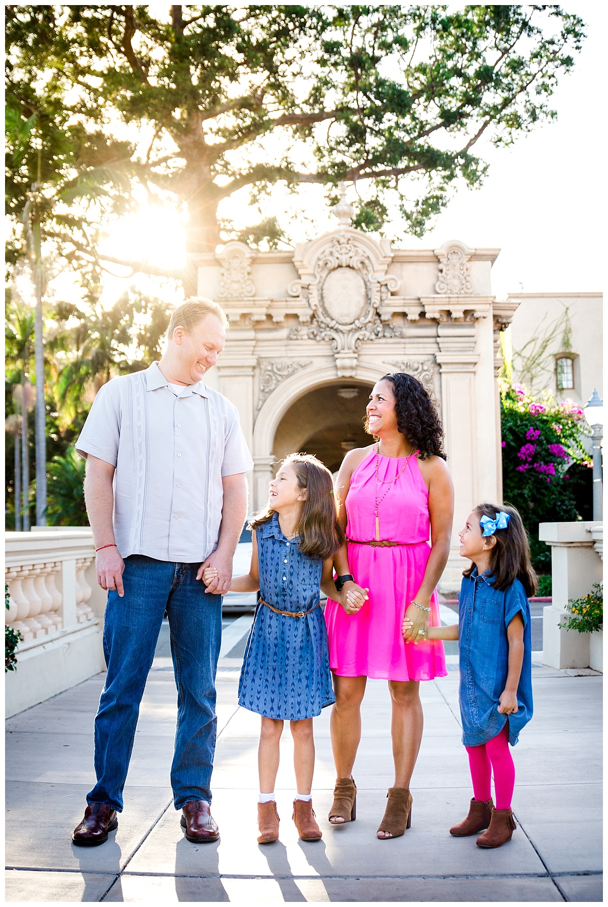 san diego, balboa park, family portrait photographer, san diego family portrait photographer, magenta dress, family with two girls, what to wear to a photo session